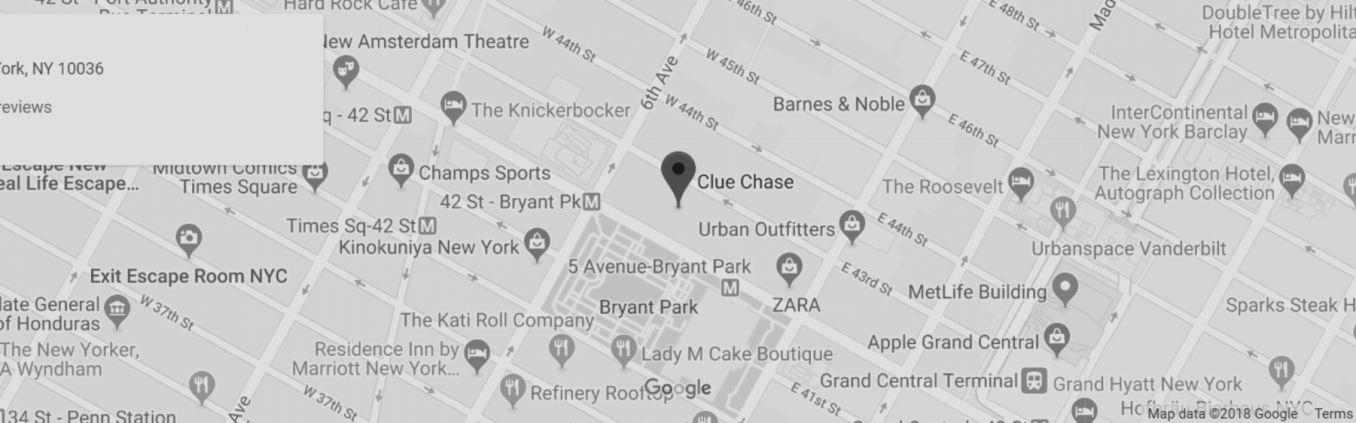 screenshot of google maps displaying clue chase's location on 42nd street between 5th and 6th avenue in Manhattan.