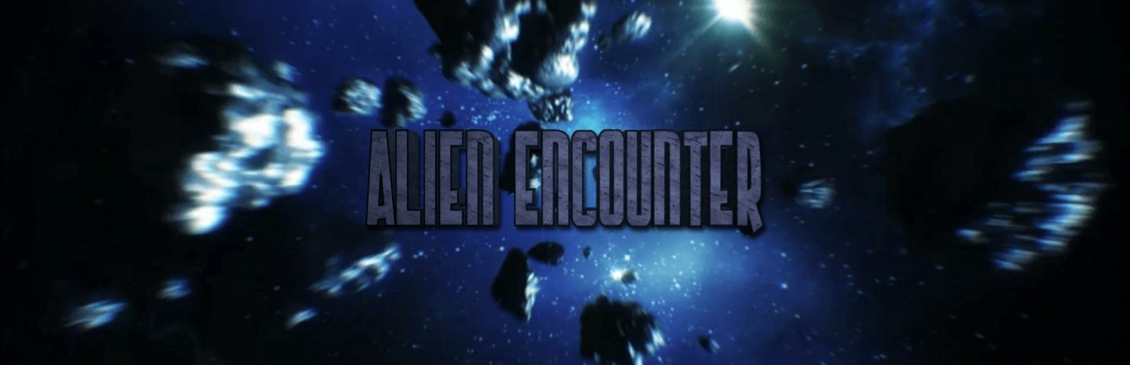 "Clue chase alien encounter escape room banner, the title ""alien encounter"" is displayed over a background of outerspace."