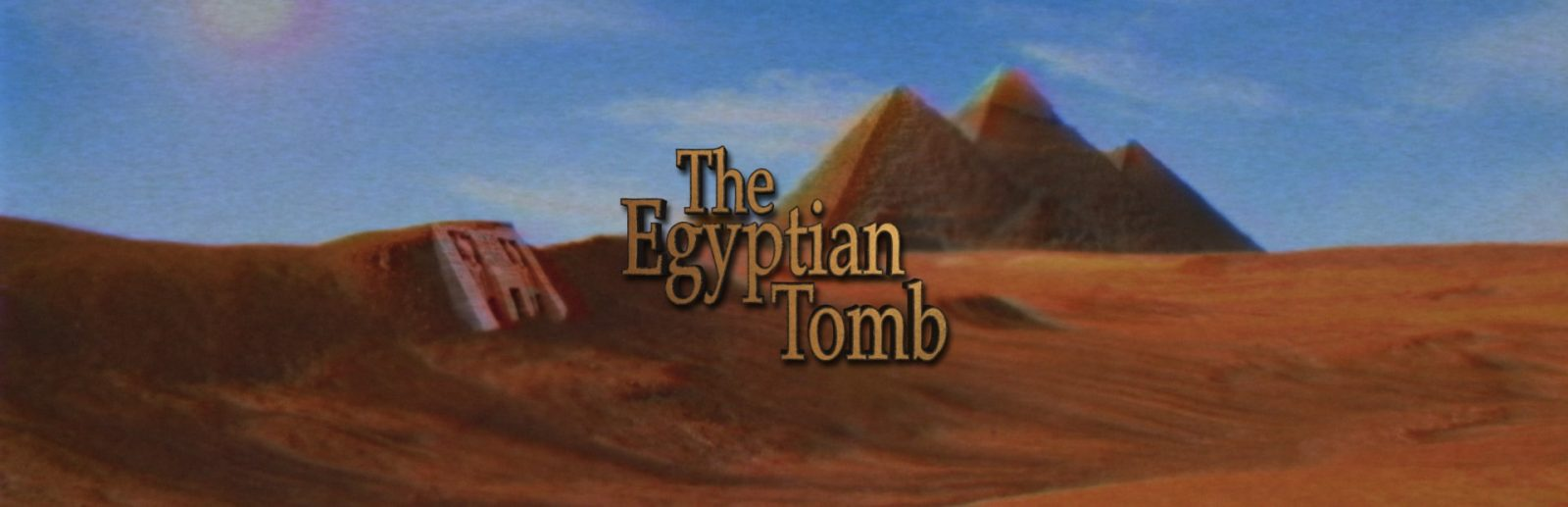 "Clue chase's egyptian tomb banner, the room title ""egyptian tomb"" is displayed over a background of pyramids and desert"